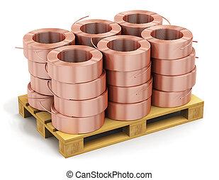 銅, 積み重ねられた, hunks, ケーブル, 出荷, パレット