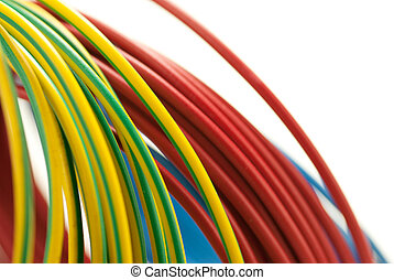 銅, 青, 3, 上に, 隔離された, 黄色, 色, 緑の背景, 白, ケーブル, 赤