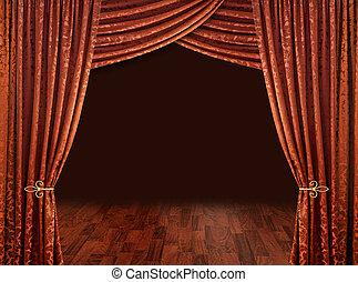 銅, courtains, 赤, 劇場