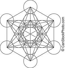 銅, metatron, 立方体, platonic, 神聖, 金, 幾何学