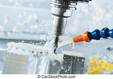 銑軋, 金屬制品, process., cnc, 金屬, 机器加工, 所作, 垂直, 米爾