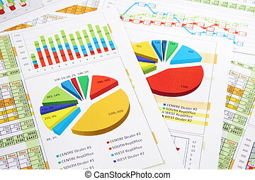 銷售報告, 在, 數字, 圖, 以及, 圖表