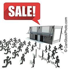 銷售, 人群, ......的, 人們, 跑, 為, 購物