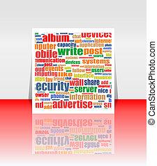 銷售, 做廣告, 通訊, 詞, 雲, 概念