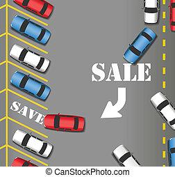 銷售, 停車處, 商店, 顧客, 汽車, 之外