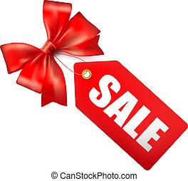 銷售, 標簽, 由于, 紅色, 禮物, bow., 矢量, 插圖