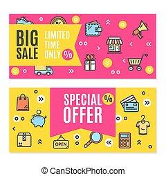 銷售, 飛行物, 旗幟, 海報, 卡片, set., 矢量