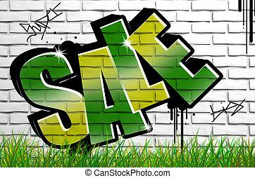 銷售, graffiti, 上, 具体的牆