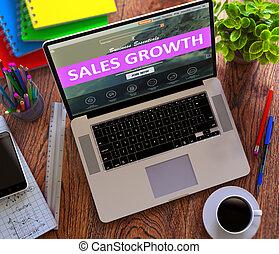 銷售, growth., 在網上, 工作, concept.