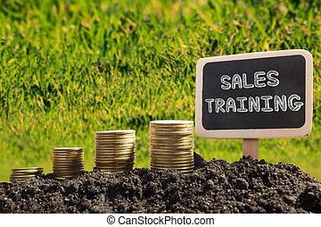 銷售, training., 金融, 機會, concept., 黃金, 硬幣, 在, 土壤, 黑板, 上, 被模糊不清, 城市, 背景。
