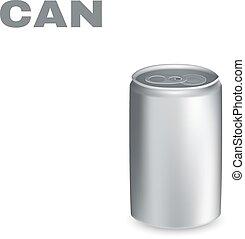 鋁, 被隔离, 背景。, 矢量, 罐頭, 白色