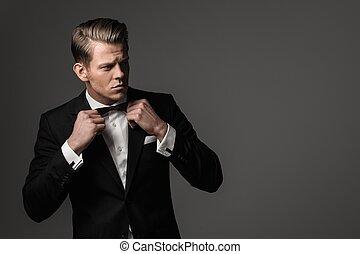 鋒利, 被給穿衣, fashionist, 穿, 短上衣, 以及, 弓領帶