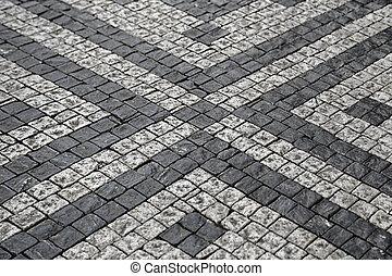 鋪石頭, 街道, 由于, 圖案