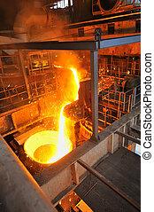 鋳物工場, 注がれた, -, 金属, 溶けている