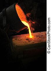 鋳物工場, -, 溶融金属, 注がれた, から, ひしゃく, に, カビ, -, 失われた, ワックス, 配役