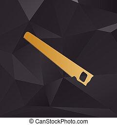 鋸, 単純である, 印。, 金, スタイル, 背景, ∥で∥, polygons.