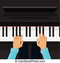 鋼琴家, 藝術家, 手, 玩, 上, 鋼琴鑰匙, 矢量