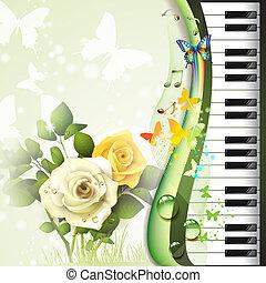 鋼琴鑰匙, 由于, 玫瑰