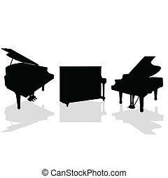 鋼琴, 三, 黑色, 矢量