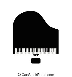 鋼琴, 由于, 椅子, 在, 黑色, 插圖