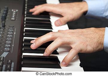 鋼琴, 男性, 玩, 手