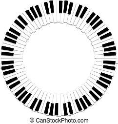 鋼琴, 矢量, 邊框, 輪, 鍵盤