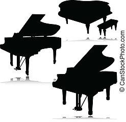 鋼琴, 矢量, 黑色半面畫像