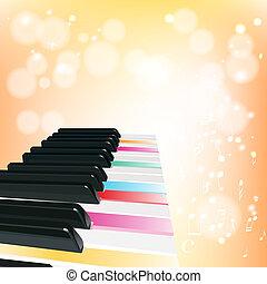 鋼琴, 背景, 由于, 注釋, 上, 橙色 背景