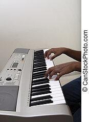 鋼琴, 鋼琴家, 電子, 玩, 鍵盤