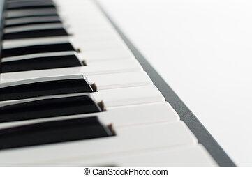 鋼琴, 電子, 白色, 背景, 鍵盤