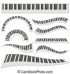 鋼琴, kayboard, 集合, 插圖