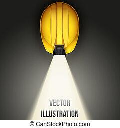鋼盔, 第一流, lamp., 頂部, 礦工, 矢量, 插圖, 背景, 葡萄酒, 觀點。, 白色