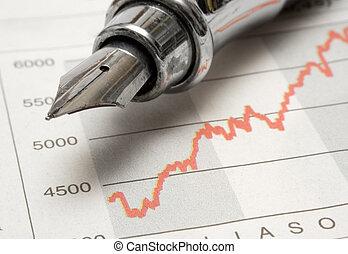 鋼筆, 泉水, 圖表, 股票