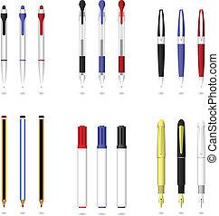 鋼筆, 鉛筆, 以及, 記號