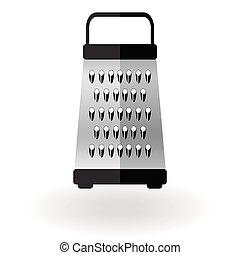 鋼鉄, おろし器, illustration., アイコン, 食物, 隔離された, ベクトル, 印, 装置, 切口, white., ロゴ, 金属, 付属品, 台所
