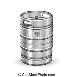 鋼鉄, クラシック, 小樽, ステンレス食器, ビール, ベクトル, 樽