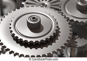鋼鉄, クローズアップ, 車輪, コグ