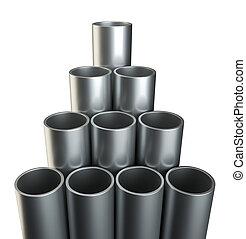 鋼鉄, クローズアップ, tubes., 金属