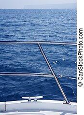 鋼鉄, ステンレス食器, 細部, 結び目, 手すり, 海洋, ボート