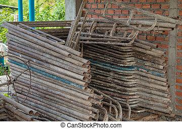鋼鉄, タイ, 建設, 足場, サイト