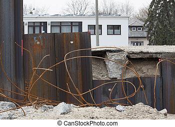 鋼鉄, ヒッティング, 柱, 地面