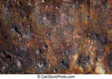 鋼鉄, プレート, 古い, 手ざわり, さび