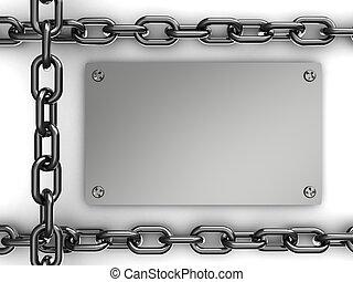 鋼鉄, プレート, 鎖