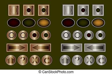 鋼鉄, ボタン, 金属, 銅, クラシック