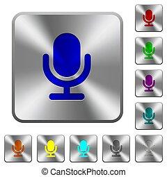 鋼鉄, マイクロフォン, 広場, 円形にされる, ボタン, 単一
