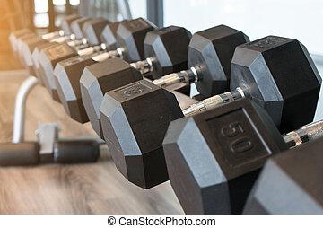 鋼鉄, ラック。, 訓練, ダンベル, 試し, ジム, 黒, フィットネス, concept., 横列
