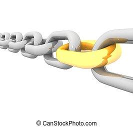 鋼鉄, リンク, 金の 鎖, 3d