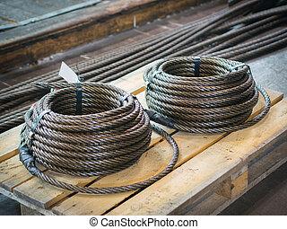 鋼鉄, ロープ, 貯蔵, コイル