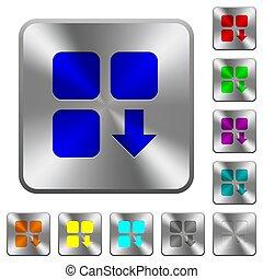 鋼鉄, 下方に, 広場, 円形にされる, 動きなさい, コンポーネント, ボタン