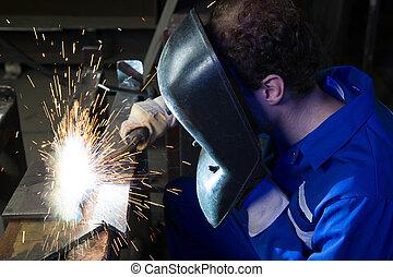 鋼鉄, 作成, 火花, 多数, 溶接, 人